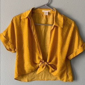 Urban Outfitters yellow polka dot tie front top!